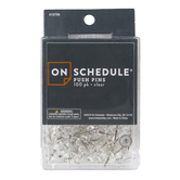 On Schedule, Clear Push Pins, 100 Count