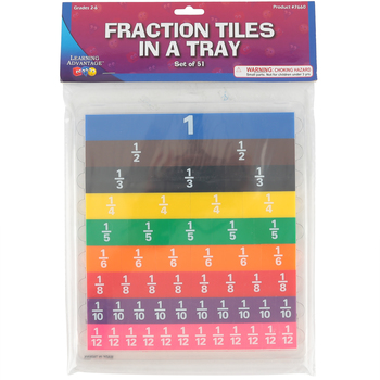 Learning Advantage, Fraction Tiles with Tray, Multi-Colored, 9 x 9.75 Inches, 52 Pieces, Grades 2-6