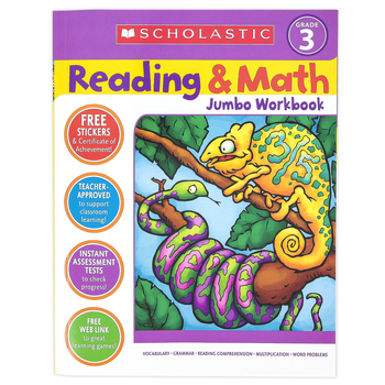 Scholastic, Reading and Math Jumbo Activity Workbook, 320 Pages, Grade 3