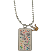 Glitter and Grace, Galatians 4:7 Daughter of the King Necklace, Floral and Silver, 16 inch Chain