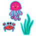 Renewing Minds, Sea Creatures Bulletin Board Set, Multi-Colored, 53 Pieces