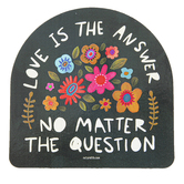 Natural Life, Love Is The Answer Shaped Sticker, Vinyl, 3 1/4 inches
