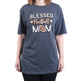 Rooted Soul, Blessed Football Mom, Women's Short Sleeve T-Shirt, Dark Heather, Large
