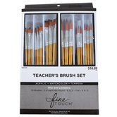 The Fine Touch, Gold Taklon Teacher's Paint Brush Set, 3 Sizes, 30 Piece Set