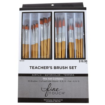 The Fine Touch, Gold Taklon Teacher's Paint Brush Set, 3 Sizes, 30 Piece Set