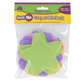 Teacher Created Resources, Spot On Carpet Markers Bright Stars, Assorted Colors, 12 Pieces, 4 Inches