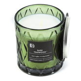 Darsee & David's, Sage Teakwood Diamond Patterned Jar Candle, Green, 10 ounces