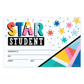 Colorfetti Collection, Star Student Certificates, 8.5 x 5.5 Inches, Multi-Colored, Pack of 30