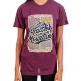 His Word Clothing Company, Matthew 17:20 Faith Can Move Mountains, Women's Short Sleeve T-shirt, Berry, S-2XL