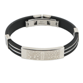 H.J. Sherman, The Lord's Prayer Bracelet, Stainless Steel and Silicone, Black, 2 3/4 inches