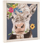 Cow with Flowers Framed Art, MDF Wood, 13 x 13 1/8 x 1 1/4 inches