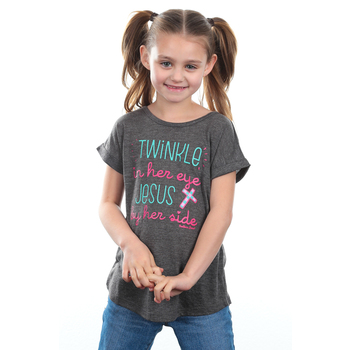 Southern Grace, Twinkle In Her Eye, Children's Short Sleeve T-Shirt, Gray, 3T-YL