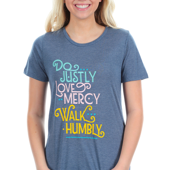 Southern Grace, Do Justly Love Mercy Walk Humbly, Women's Short Sleeve T-shirt, Slate Blue, Medium
