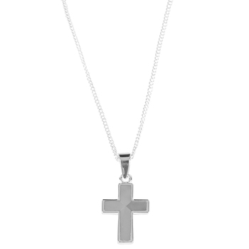 Dicksons, The Mother of Pearl Cross Necklace, Silver Plated, 18 inches