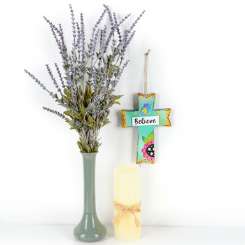 Believe Floral Wall Cross, MDF, Teal, 8 x 5 1/2 x 3/4 inches