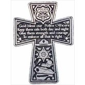 Abbey and CA Gift, Policeman Cross Car Visor Clip, Pewter, 1 3/4 x 2 3/8 inches