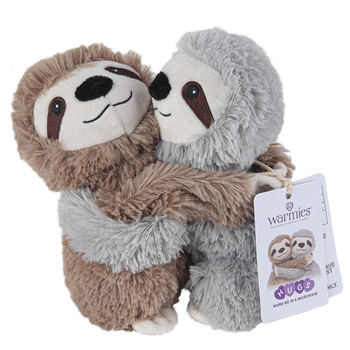 Warmies, Hugs Sloth Stuffed Animals, Plush, Brown & Gray, 7 inches