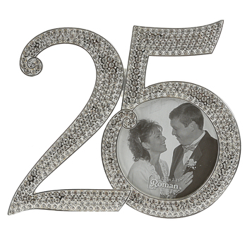 Roman Inc, 25th Anniversary Rhinestone Frame, Rhinestone, for 2 1/2 x 2 1/2 inch photo