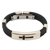 HJ Sherman, Cross Bracelet, Silicone & Stainless Steel, Black, Brown, & Silver, 6 1/2 inches