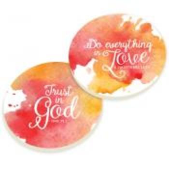 P. Graham Dunn, Jeremiah 29:11 and 1 Corinthians 13:7, Car Coasters, Set of 2