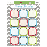 Isabella Collection, Customizable Happy Birthday Chart, Multi-colored on Gray Chevron, 17 x 22 Inches