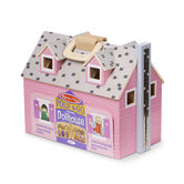 Melissa & Doug, Fold and Go Mini Wooden Dollhouse, Ages 3 to 7 Years Old