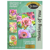 Divinity Boutique, Floral Thinking of You Boxed Cards, 12 Cards with Envelopes