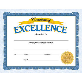 TREND enterprises Inc., Certificate of Excellence, 11 x 8.5 Inches, Pack of 30