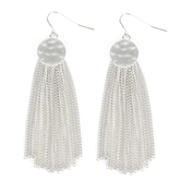 His Truly, Disk with Tassel Earrings, Zinc Alloy, Satin Silver