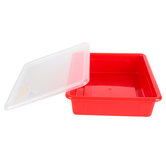 Storex, Letter Size Storage Tray With Clear Lid, Red, Plastic, 13 x 10.5 x 3 Inches, 2 Pieces