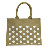 Me & My B.A.G., Natural With White Polka Dots, Tote Bag, Jute