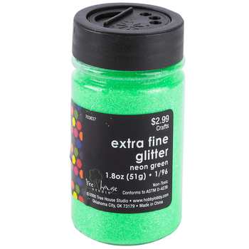Tree House Studio, Extra Fine Glitter, Neon Green, 1.8 ounces