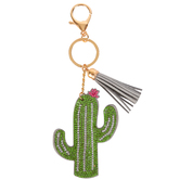 D.M. Merchandising, Olivia Moss, Dazzler Cactus Keychain, Green and Grey, 5 inches