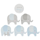 Brother Sister Design Studio, It's A Boy Elephant Wall Cutouts, Blue & Grey, Pack of 13