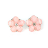 Howard's, Ear Sense, Pink Stone Flower Post Earrings, Pink and Crystal Stones, 1/2 Inches