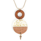 Faith in Bloom, Round Wooden Pendants with Cross Charm Necklace, Gold, 22 Inch Chain