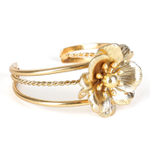 His Truly, Flower Cuff Bracelet, Zinc Alloy, Matte Gold