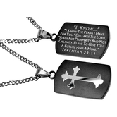Spirit & Truth, Jeremiah 29:11 Cross Black Dog Tag Necklace, Stainless Steel, 20 inches