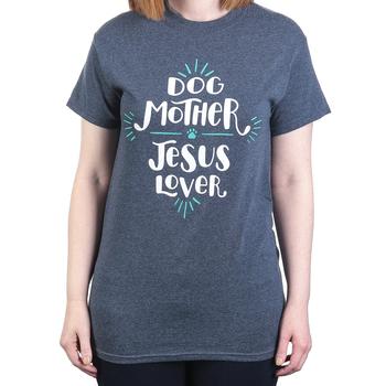 Paws & Praise, Dog Mother Jesus Lover, Women's Short Sleeve T-Shirt, Dark Heather, S-2XL