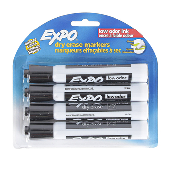 Expo, Low-Odor Dry Erase Markers, Chisel Tip, Black, 4-Pack
