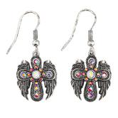 Modern Grace, Cross with Angel Wings Dangle Earrings, Zinc Alloy, Antique Silver