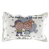 Simply Home, About Me Small Tapestry Pillow, Cotton and Polyester, 7 1/4  x 12 inches