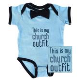 New Ewe, This Is My Church Outfit, Baby Short Sleeve Onesie, Light Blue/Navy, Newborn-12 Months