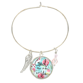 Faith in Bloom, Jeremiah 29:11 God Has A Plan For You Bangle Charm Bracelet, Zinc Alloy, Silver