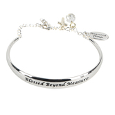 H.J. Sherman, John 1:16 Blessed Beyond Measure Cuff with Chain Bracelet, Rhodium Plated, Silver