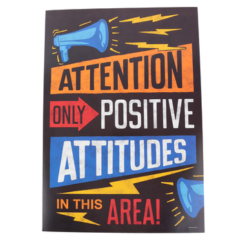 Renewing Minds, Attention Only Positive Attitudes Motivational Poster, 13.25 x 19 Inches, 1 Piece