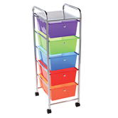 Renewing Minds, 5 Drawer Mobile Organizing Tower, Rolling Cart, Multi-Colored, 37 x 16 x 8 Inches