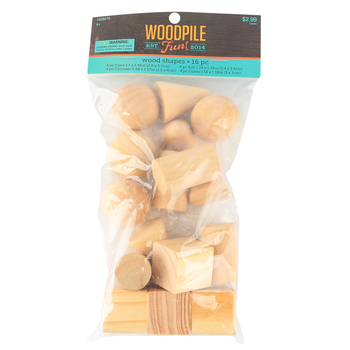 Woodpile Fun, Wooden Craft Shapes, 4 Assorted Shapes, 1 inch, Natural, 16 Count