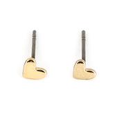 Gifts of Faith, Faithworks, Leather Tag Love Never Fails Heart Stud Earrings, Metal, Gold, 1/4 inches