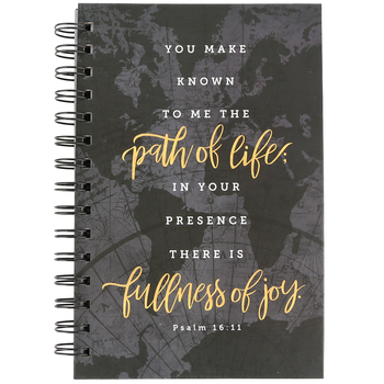 SoulScripts, Psalm 16:11 Path of Life Journal, Spiral-Bound Hardcover, Gray Map, 8 x 5 1/4 inches, 160   pages